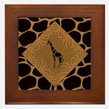 Giraffe with Animal Print Framed Tile