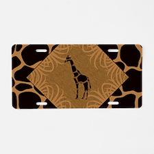 Giraffe with Animal Print Aluminum License Plate