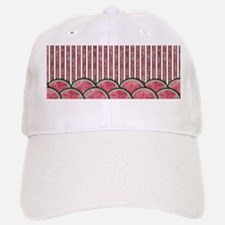 Watermelon Mania - double row border stripes Baseball Baseball Cap