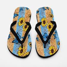 Country Sunflower And Butterflies Flip Flops
