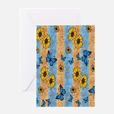 Country Sunflower And Butterflies Greeting Card