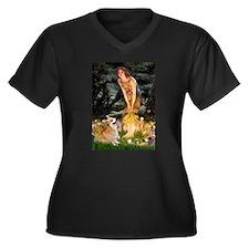 Fairies & Corgi Women's Plus Size V-Neck Dark T-Sh