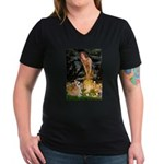 Fairies & Corgi Women's V-Neck Dark T-Shirt