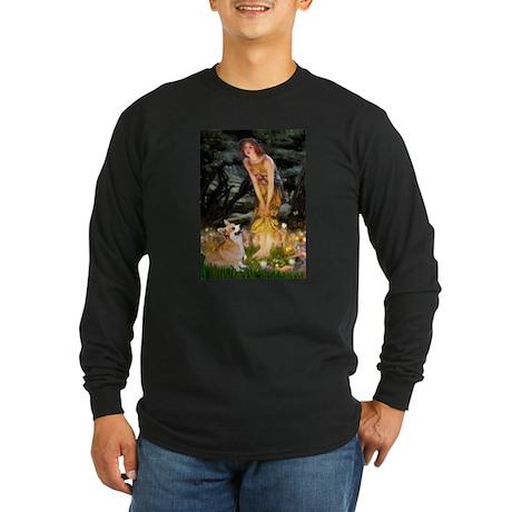 Fairies & Corgi Long Sleeve Dark T-Shirt