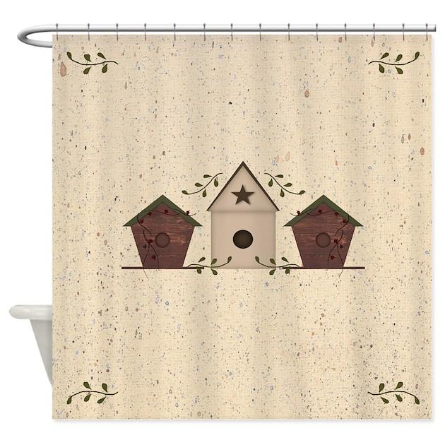 primitive birdhouses shower curtain by mousefx