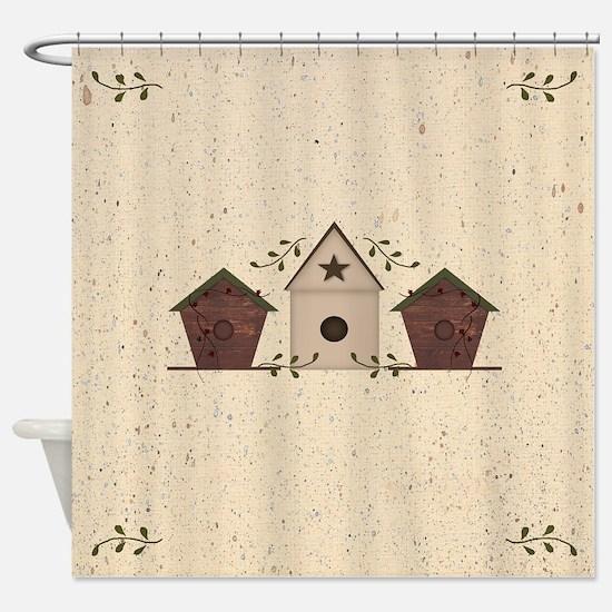 Primitive Birdhouses Shower Curtain