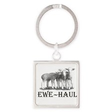 Cute Lambs Square Keychain