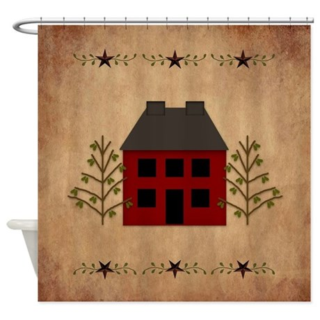 Primitive House Shower Curtain By Mousefx