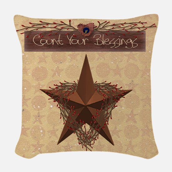 Primitive Star Woven Throw Pillow