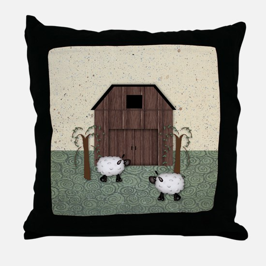 Barn Sheep Throw Pillow