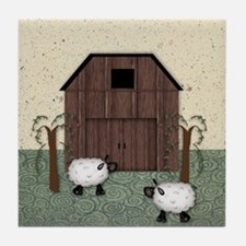Barn Sheep Tile Coaster