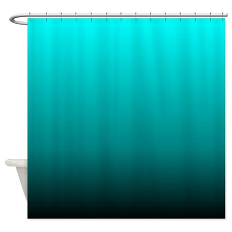 Modern Black Turquoise Ombre Shower Curtain By ADMIN CP62325139