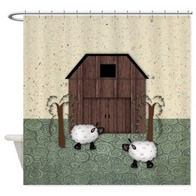 Barn Sheep Shower Curtain
