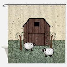 Barn Sheep Shower Curtain