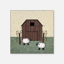 "Barn Sheep Square Sticker 3"" x 3"""