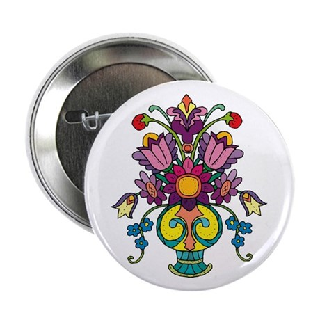 "Flower Vase 2.25"" Button (10 pack)"