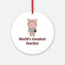 Pig: Greatest Teacher Ornament (Round)