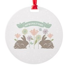 Modern rustic chic Easter Bunnies Ornament