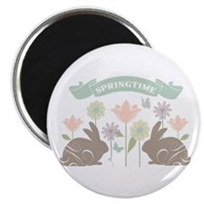 Modern rustic chic Easter Bunnies Magnets
