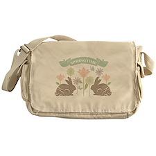 Modern rustic chic Easter Bunnies Messenger Bag