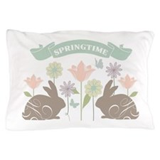 Modern rustic chic Easter Bunnies Pillow Case