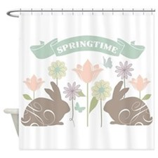 Modern rustic chic Easter Bunnies Shower Curtain