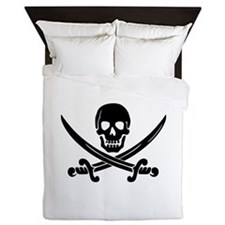 Calico Jack's Pirate Ensign Queen Duvet Cover
