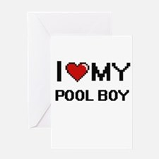 I love my Pool Boy Greeting Cards