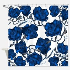 Blue Roses on White Shower Curtain