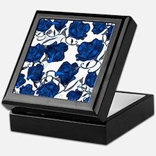 Blue Roses on White Keepsake Box