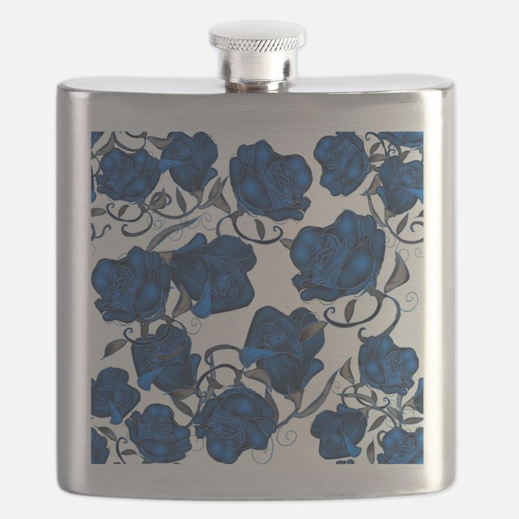 Blue Roses on White Flask