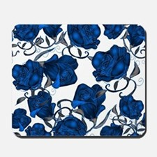 Blue Roses on White Mousepad