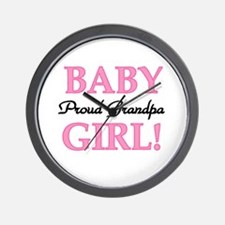 Baby Girl Proud Grandpa Wall Clock