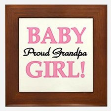 Baby Girl Proud Grandpa Framed Tile