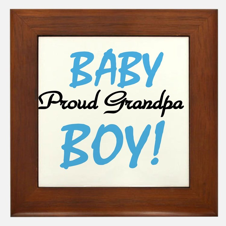 Baby Boy Proud Grandpa Framed Tile