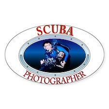 Scuba Photographer Oval Decal