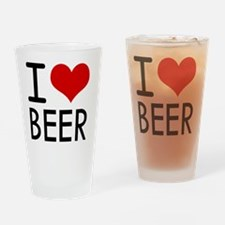 I Love Beer Drinking Glass