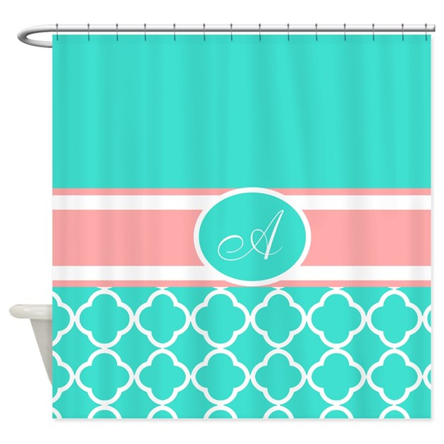 Turquoise And Coral Monogram Shower Curtain By Laughoutlouddesigns1