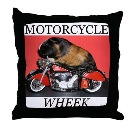 Motorcycle Wheek! Throw Pillow