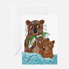 Bear Fishing Lesson Greeting Card