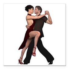 "Dancers ~ Argentine Tang Square Car Magnet 3"" x 3"""