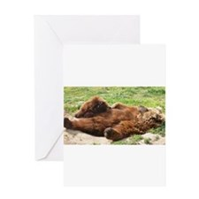 Sleeping Brown Bear Greeting Cards