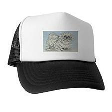 White Pekingese Trucker Hat