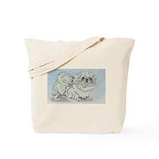 White Pekingese Tote Bag