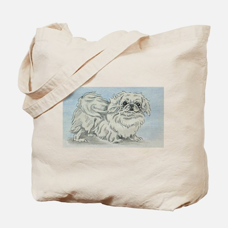 White Pekingese Tote Bag