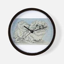 White Pekingese Wall Clock