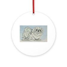 White Pekingese Ornament (Round)