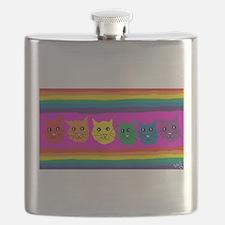 gay rainbow cats art PAINT ART Flask