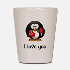I Love You Penguin Shot Glass