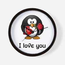 I Love You Penguin Wall Clock